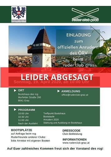 Absage Anrudern Graz2020